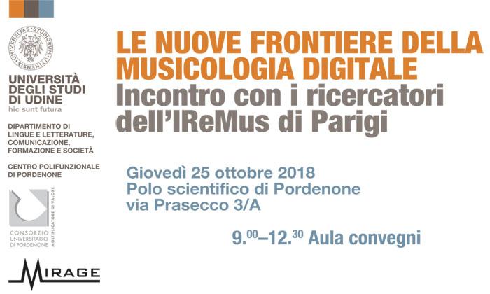 """Giornata di studio """"Le nuove frontiere della musicologia digitale"""" il 25/10/2018. Incontro con i ricercatori dell'IReMus di Parigi"""