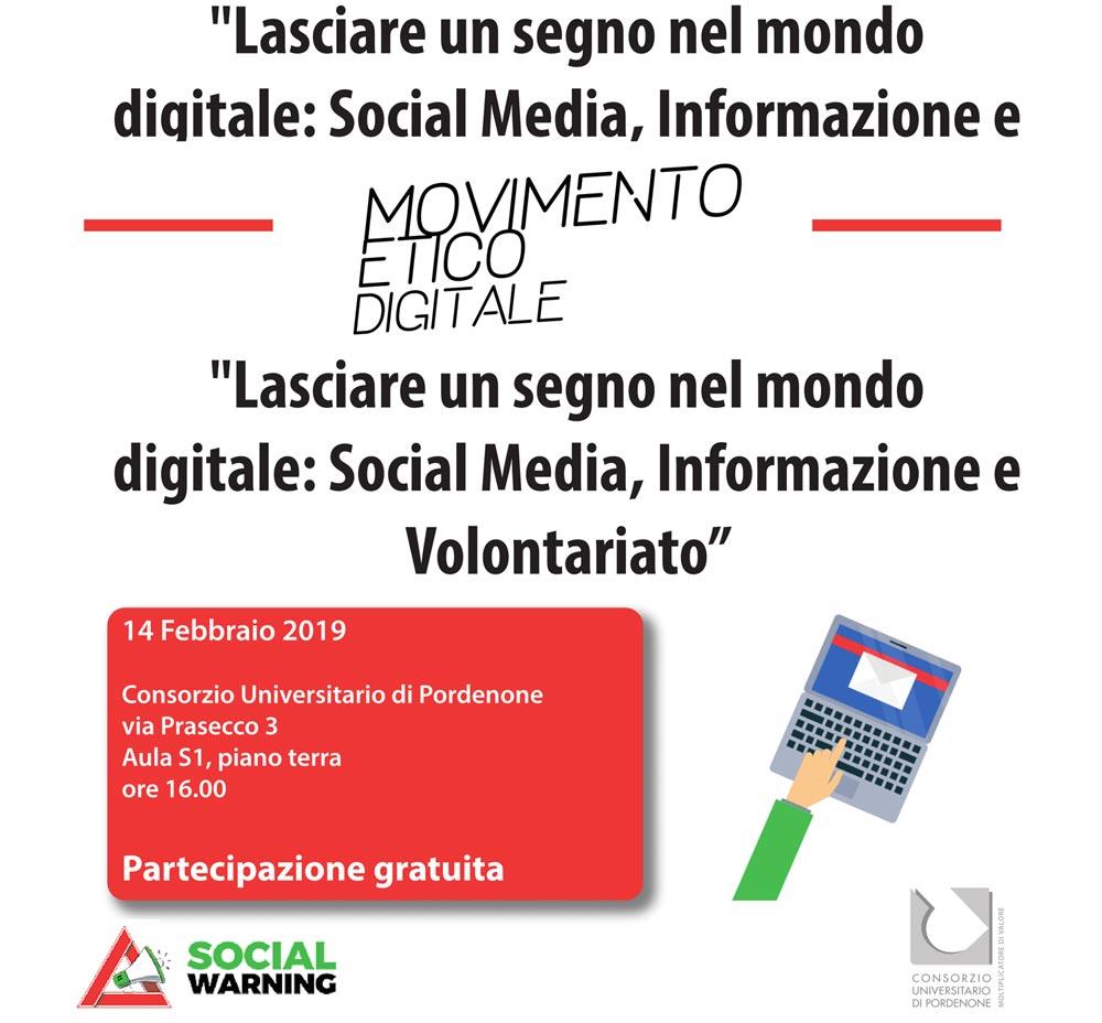 """Evento """"Lasciare un segno nel mondo digitale: Social Media, Informazione e Volontariato"""" il 14/02 dalle 16.00"""