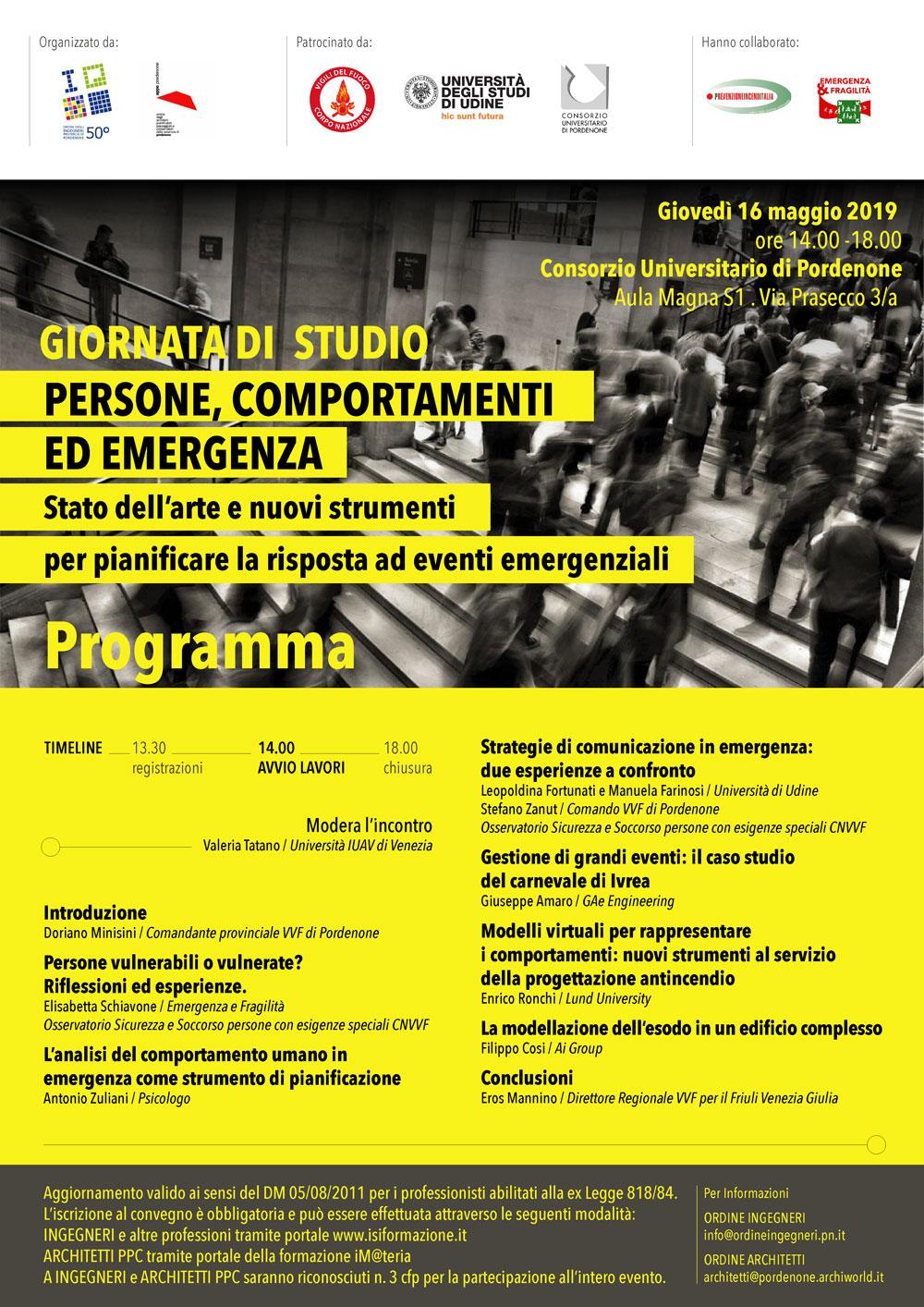 """Giornata di studio """"Persone, comportamenti ed emergenza"""" il 16/05 a Pordenone"""